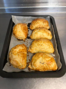Homemade pasties out of the oven
